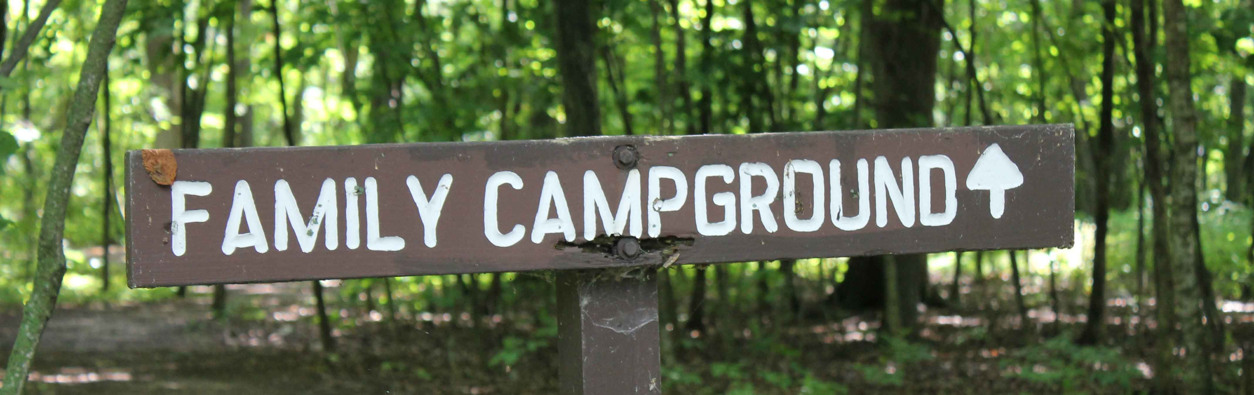 Family campground trail sign.